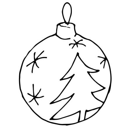 Hand drawn Christmas decorations isolated on a white background.