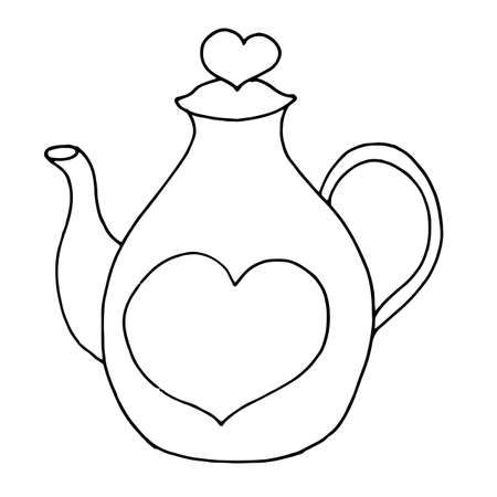 A teapot from which steam flows in the form of a heart. Vector illustration of a logo for a ceramic teapot. Hand drawn teapot and mugs with hearts isolated on a white background. Illusztráció