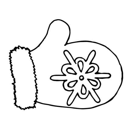 mitten glove cartoon vector and illustration, black and white, hand drawn, sketch style, isolated on white background. Hand drawn mitten isolated on a white background.