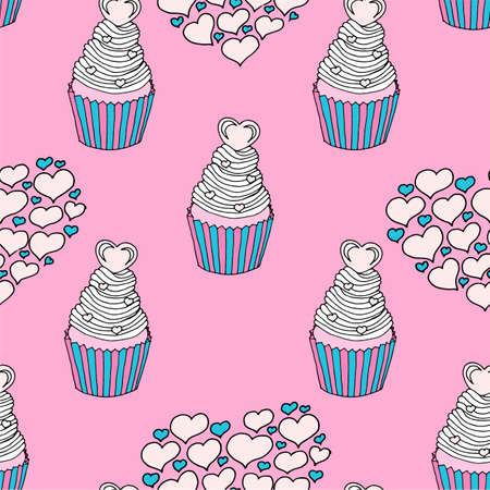 Valentines day seamless pattern of hearts and cupcakes. Beautiful abstract pattern with Valentines day seamless pattern for decorative design. Logo element for wedding illustration. Vintage design. Greeting card. Vector graphic of the various sweets and desserts decorated into seamless pattern. Illustration
