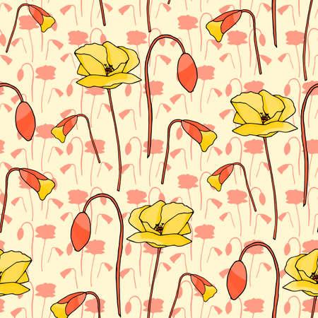 Abstract poppy seamless pattern for textile design. Floral seamless vector pattern. Graphic modern pattern. Vector illustration background. Vector design print template. Seamless vector texture.