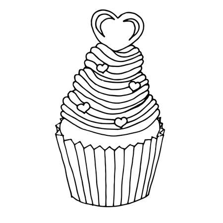 Single hand drawn cupcake decorated with hearts. In doodle style, black outline isolated on a white background.