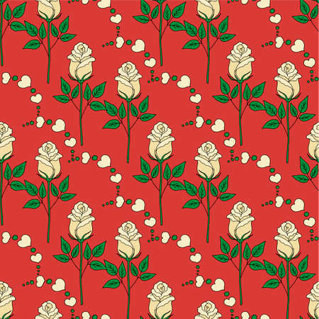 Valentines day seamless pattern roses and hearts.