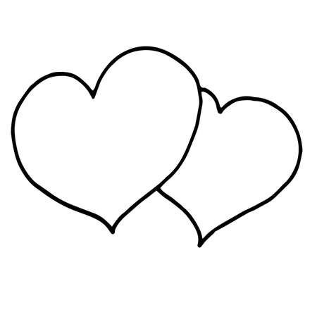 Hand Drawn Calligraphy Heart Isolated on White Background. Perfect for invitation, greeting card, coloring book, textile print. Vector Illustration. Illusztráció
