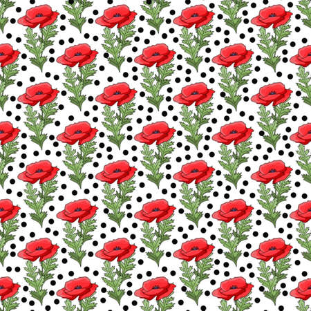 Vintage poppy seamless pattern, great design for any purpose.
