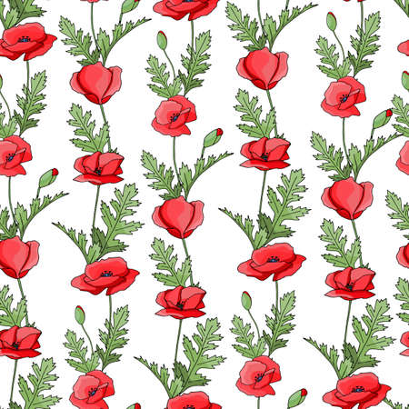 Vintage poppy seamless pattern, great design for any purpose. Doodle style texture. Geometric floral background. Fabric wallpaper with print texture.