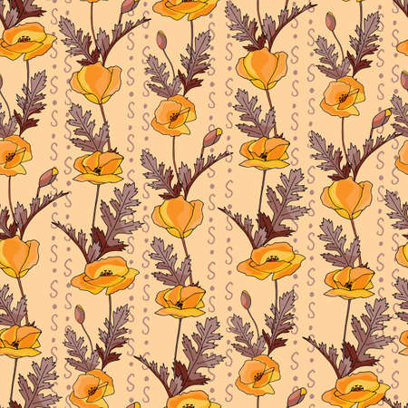 Poppies stripped seamless pattern. Yellow, orange, red, brown.Floral seamless vector pattern. Graphic modern pattern. Vector illustration background. Vector design print template.