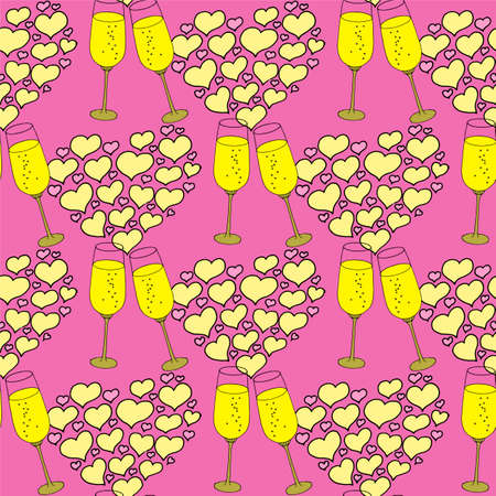 Valentines day seamless wine glass and hearts. Beautiful abstract pattern with Valentines day seamless pattern for decorative design. Logo element for wedding illustration. Vintage design. Greeting card.
