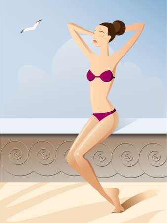 young beautiful girl in vacation on the sun Illustration