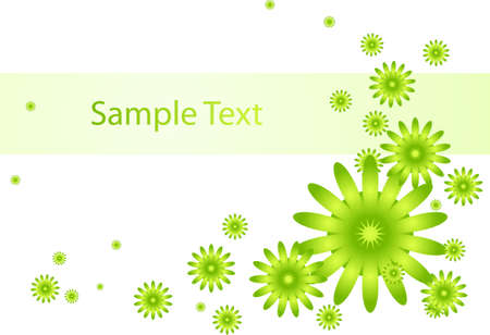 green summer flowers on a white background Illustration