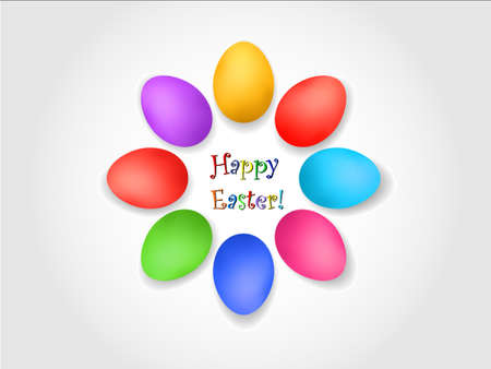 Wish of happy easter with color eggs
