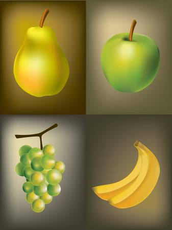 Green fruit an apple a banana a pear and grapes on a dark background