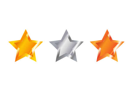 Gold, silver and bronze star on a white background Illustration