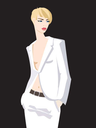 Young stylish woman in a white suit