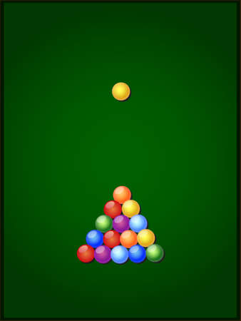 billiard balls on a green table