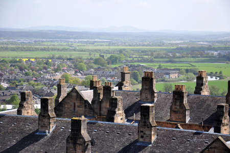 View of old rooftops and countryside from Stirling Castle, Scotland photo