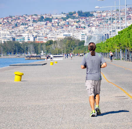 seafront: man jogging on the seafront