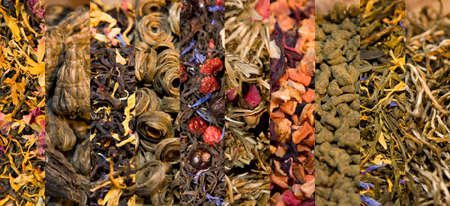 teaparty: Collage of different varieties of black and green tea Stock Photo