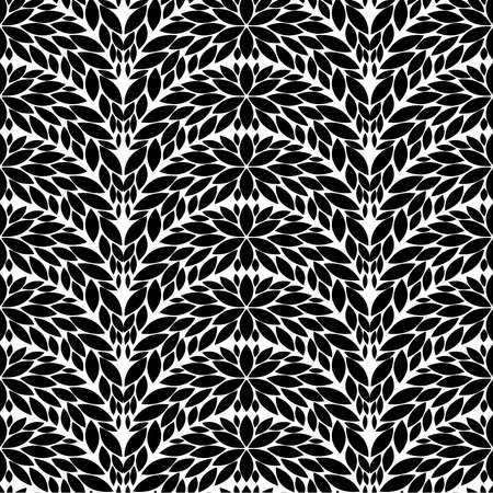Vector seamless pattern. Abstract black, white floral, stylish background. Çizim