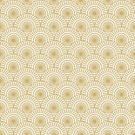 Geometric pattern of gold and white ornament. Vector illustration.