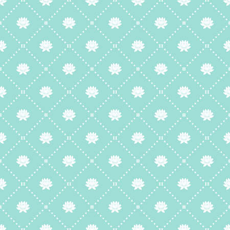 Geometric floral blue pattern seamless vector background. Illustration