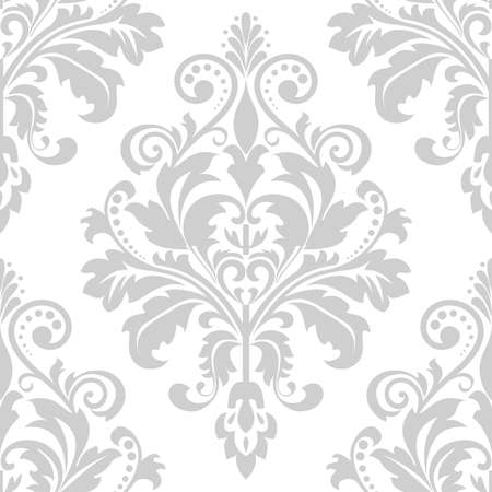 Wallpaper in the style of baroque seamless vector background. Gray and white texture floral ornament graphic vector pattern.