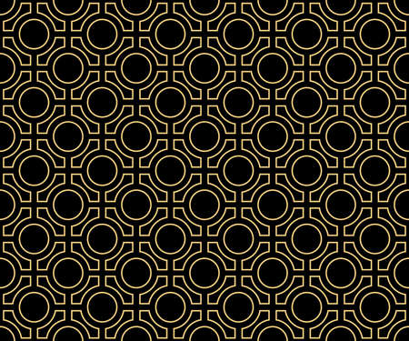 Vector pattern. Geometric seamless simple gold and black modern texture mesh