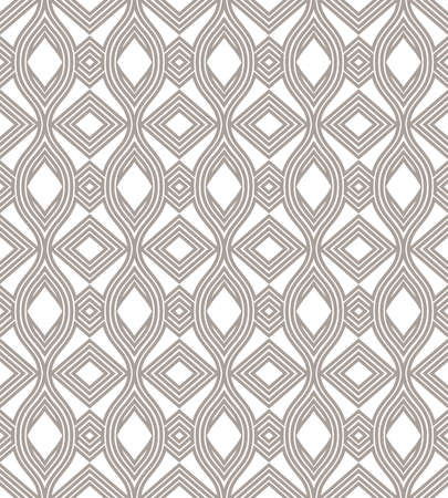 The geometric pattern with waves, stripes. Seamless vector background. Grey and white ornament