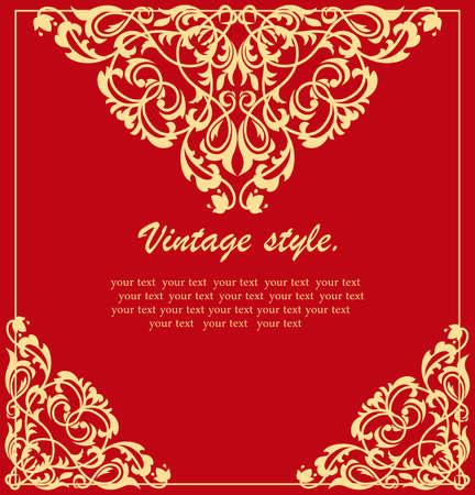 Ornamento etnico vintage. Invito in stile retrò. Saluto, biglietto d'invito. Archivio Fotografico - 94384855