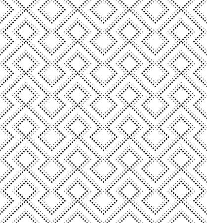 The geometric pattern of squares and dots. Seamless vector background. Black and white texture.