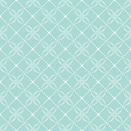 The geometric flower pattern with squares and dots. Seamless vector background. Blue and white texture. Illustration