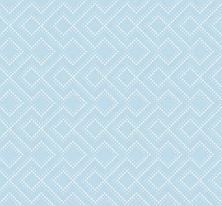 The geometric pattern of squares and dots. Seamless vector background. Blue and white texture.