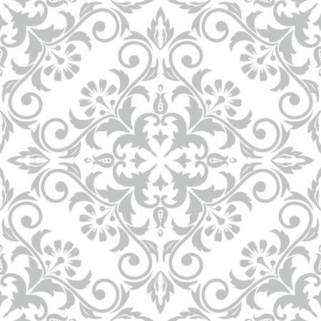 Wallpaper in the style of Baroque. A seamless vector background. Gray and white texture. Floral ornament. Graphic vector pattern Çizim