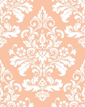 Floral pattern. Wallpaper baroque, damask. Seamless vector background. Pink and white ornament.