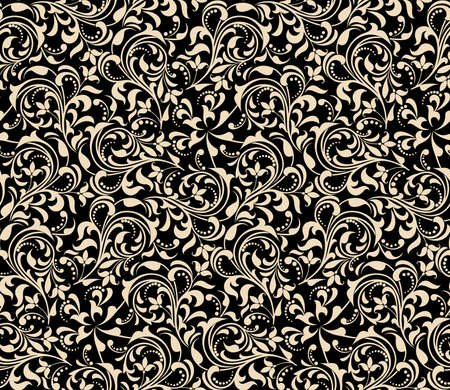 Seamless abstract floral pattern. Gold and black vector background. Geometric leaf ornament. Graphic modern pattern.