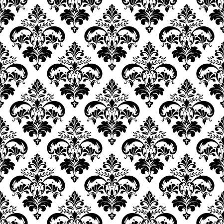Floral Seamless pattern. Wallpaper baroque, damask vector  Black and white background ornament. Иллюстрация