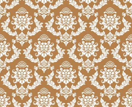 Floral pattern. Wallpaper baroque, damask. Seamless vector background. Brown and white ornament.