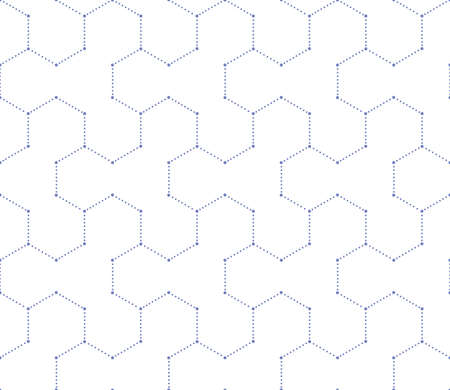 Geometric blue and wihite pattern with points. Vector seamless background. Illustration