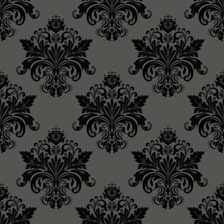 Floral pattern. Wallpaper baroque, damask. Seamless vector background. Black ornament