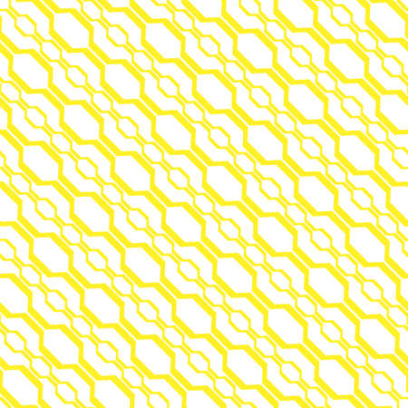 The geometric pattern with wavy lines. Seamless vector background. White and yellow texture