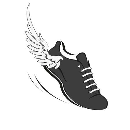 Sports shoes for running, running shoe with a wing. Vector Illustration