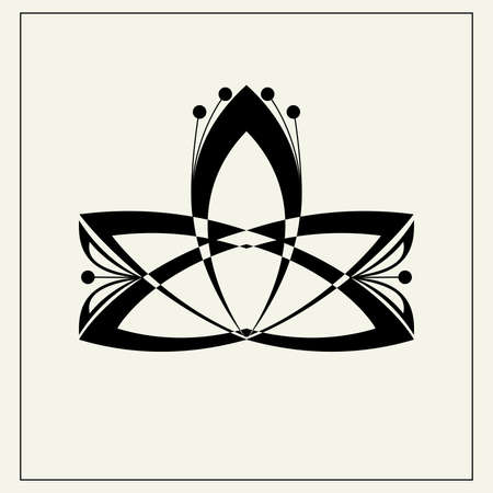 Lotus flower geometric icon illustration. 일러스트