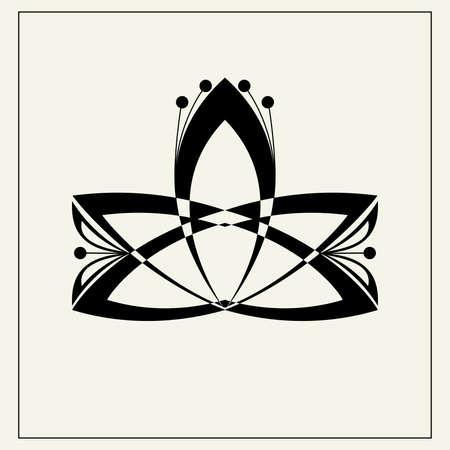 Lotus flower geometric icon illustration. Vettoriali