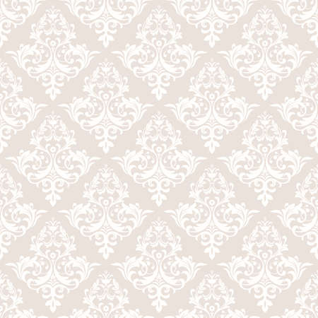 Wallpaper in the style of Baroque. A seamless vector background. White and beige floral ornament. Graphic vector pattern Çizim