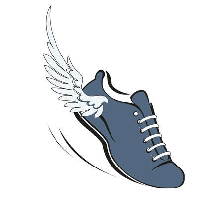Sports shoes for running, running shoe with a wing. Vector illustration.