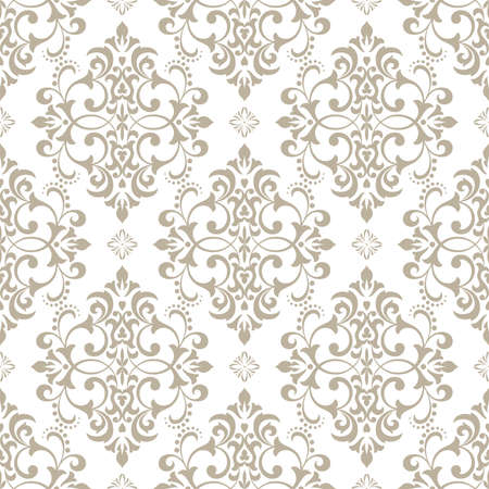 Floral pattern. Wallpaper baroque, damask. Seamless vector background. White and grey ornament. Иллюстрация