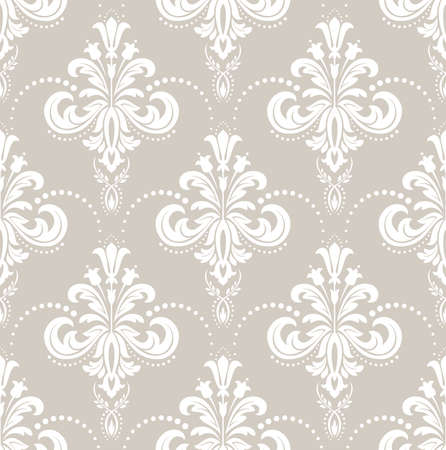 Floral pattern. Wallpaper baroque, damask. Seamless vector background. White and beige ornament