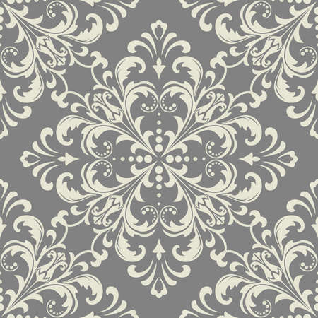Floral pattern. Wallpaper baroque, damask. Seamless vector background. Grey ornament 일러스트
