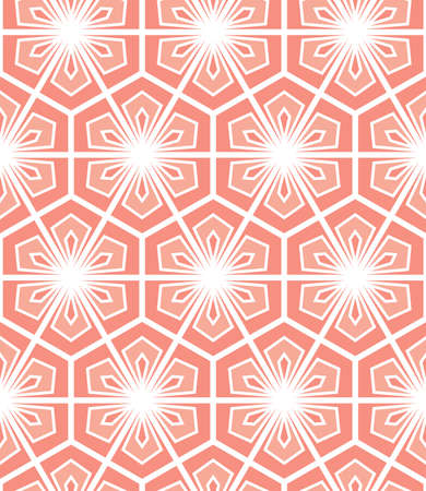 Abstract geometric pattern with white and pink ornament.