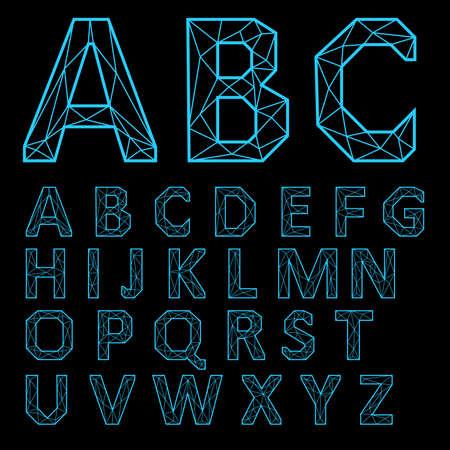 Neon letters on a black background. Ilustração